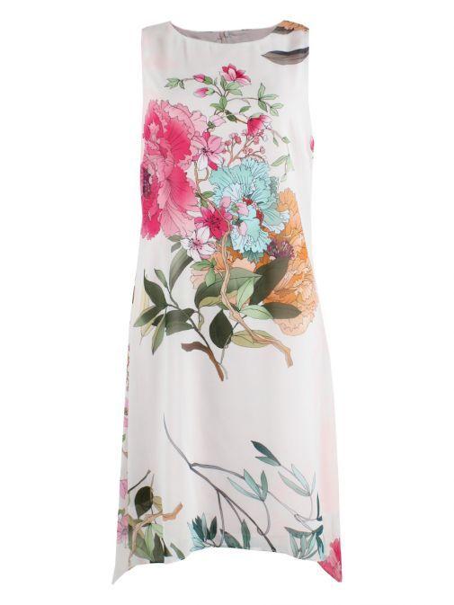 Frank Lyman Flower Print High Low Dress 186836 ST/PB/PINK