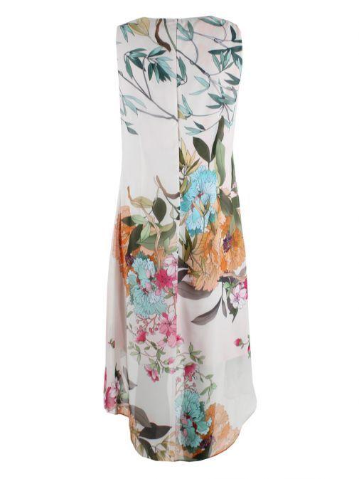 Frank Lyman Flower Print High Low Dress