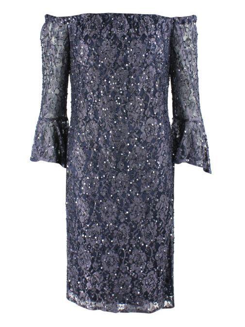 Frank Lyman Blue Sequin Off Shoulder Dress 189103I/BLUE