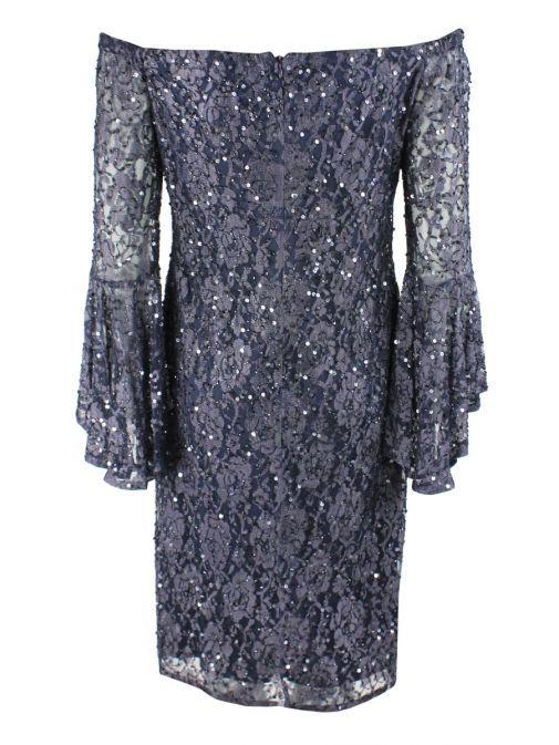 Frank Lyman Blue Sequin Off Shoulder Dress