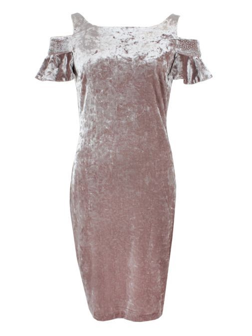 Frank Lyman Rose Velvet Cold Shoulder Dress 189368 ROSE