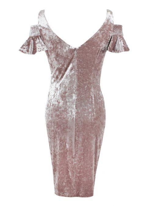 Frank Lyman Rose Velvet Cold Shoulder Dress