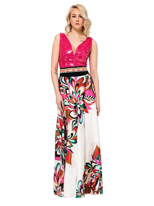 Access Fashion Pink Sequin Bodice Printed Dress 19-3577-612 OFFWHITE