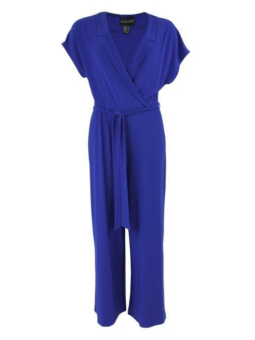 Frank Lyman Cobalt Lapel Style Wrap Jumpsuit 191011 COBALT