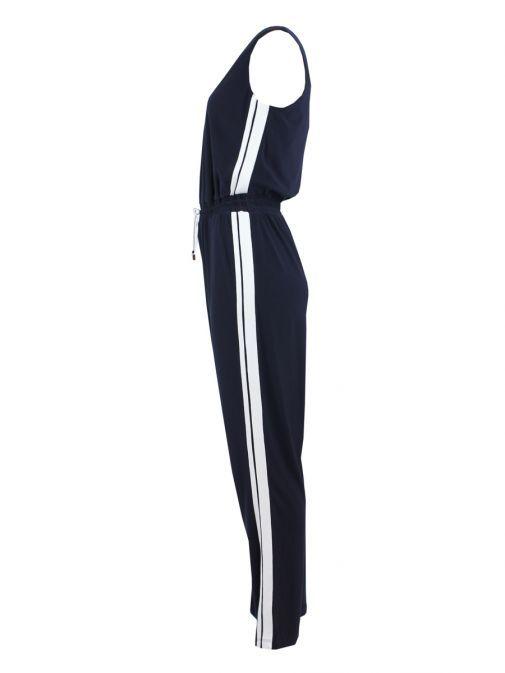 Frank Lyman Navy Stripe Panel Jumpsuit