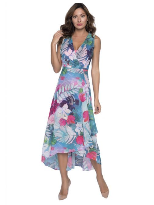 Frank Lyman Tropical Floral Print Wrap Dress 191301 PI/AQ/CO