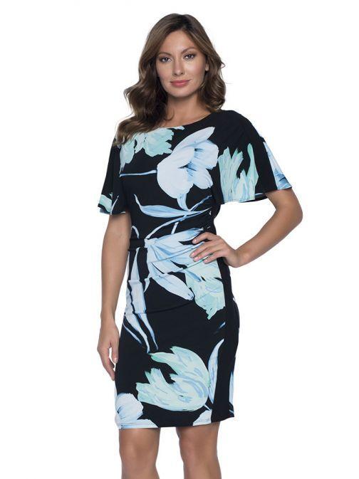Frank Lyman Batwing Sleeve Black Floral Dress 191445 BLK/AQUA