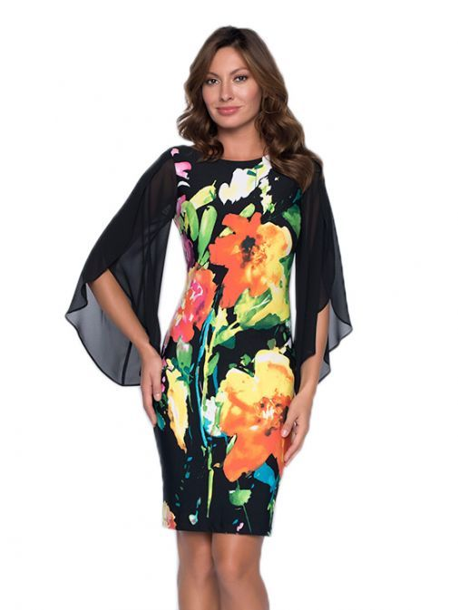 Frank Lyman Black Floral Cape Sleeve Dress 191452 BL/CO/GR