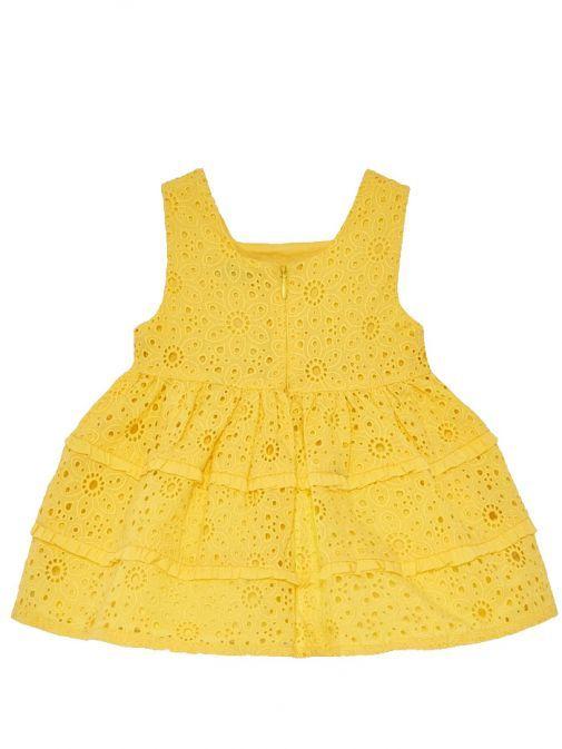 Mayoral Yellow Openwork Pattern Dress