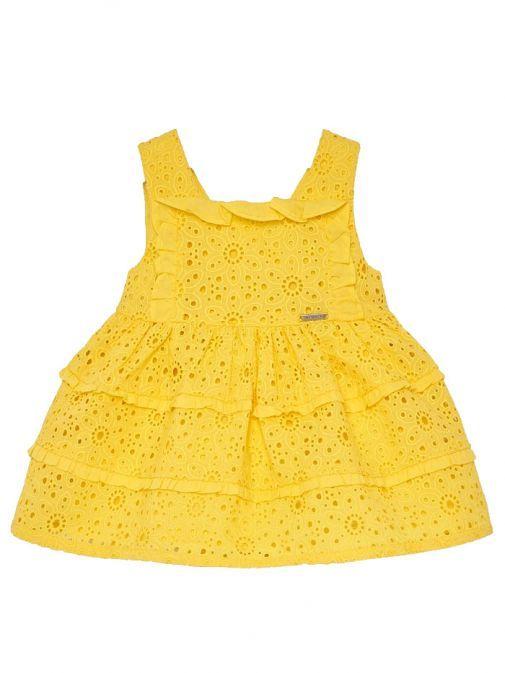 Mayoral Yellow Openwork Pattern Dress 1928 25