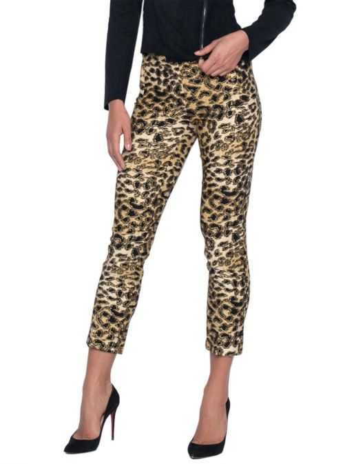 Frank Lyman Leopard Print Cropped Trousers 194431-bk-ta-go-multi