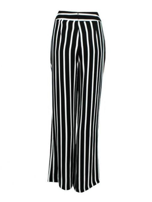 Frank Lyman Black and White Stripe Wide Leg Trousers
