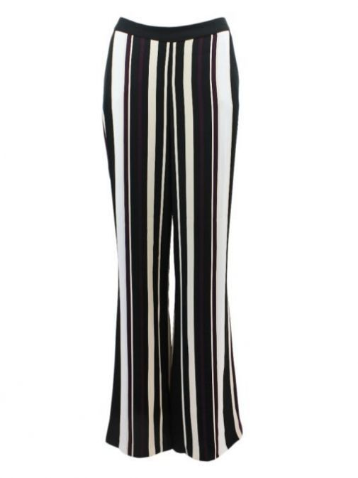 Frank Lyman Black & Purple Stripe Wide Leg Trouser 194669