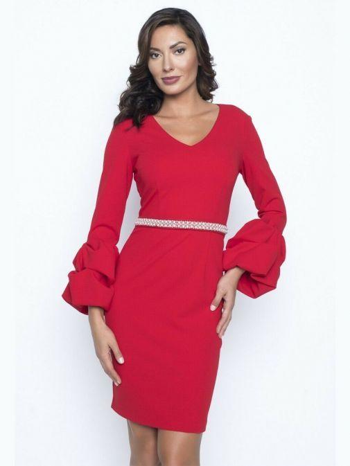 Model wearing Frank Lyman Ruffle Sleeve Pearl Detail Dress in Red, Style 195277