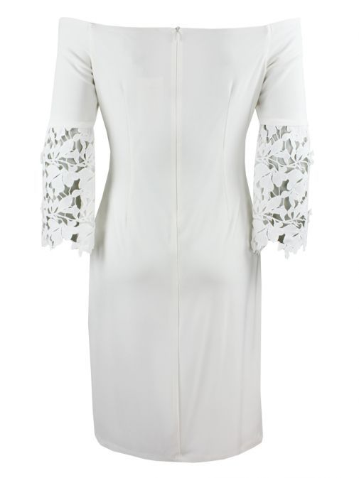 Frank Lyman Off White Off the Shoulder Lace Sleeve Dress