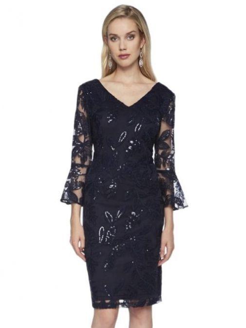 Frank Lyman Navy Sequin Embroidery Dress 198146 NAVY