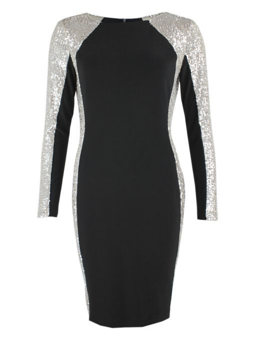 Frank Lyman Black Sequin Panel Dress 198174 BEIGE&SILVER