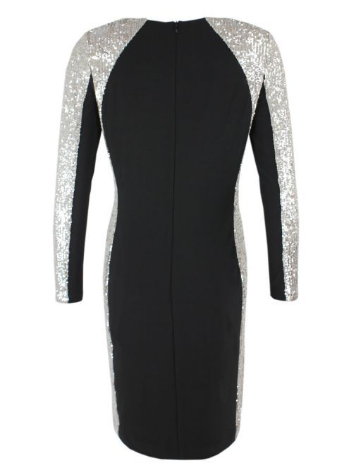 Frank Lyman Black Sequin Panel Dress