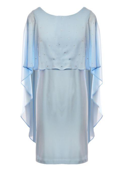 Frank Lyman Powder Blue Diamante Cape Overlayer Dress 198197 POWDBLUE