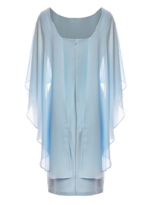 Frank Lyman Powder Blue Diamante Cape Overlayer Dress