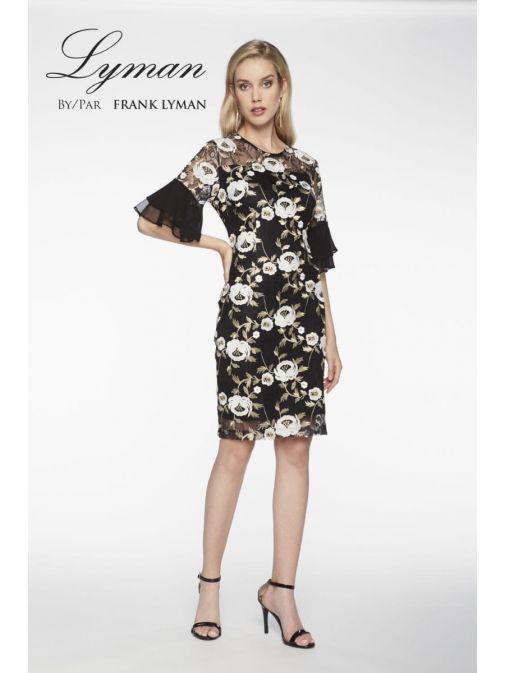 Frank Lyman Black Floral Embroidered Chiffon Frill Dress