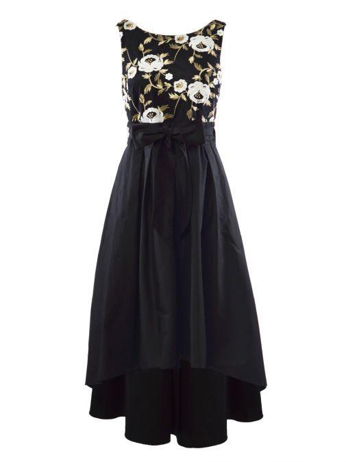Frank Lyman Black Floral Embroidered High Low Dress 198217 BLK/GOLD
