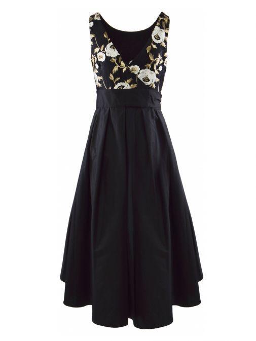 Frank Lyman Black Floral Embroidered High Low Dress