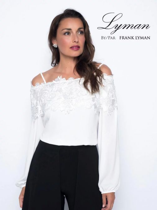 Frank Lyman Off-White Lace Detail Off The Shoulder Top