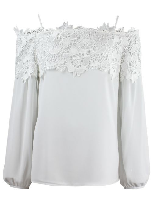Frank Lyman Off-White Lace Detail Off The Shoulder Top 198258 OFFWHITE