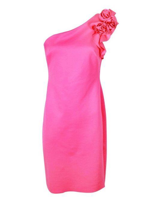 Frank Lyman Pink One Shoulder Flower Detail Dress 198288 PINK