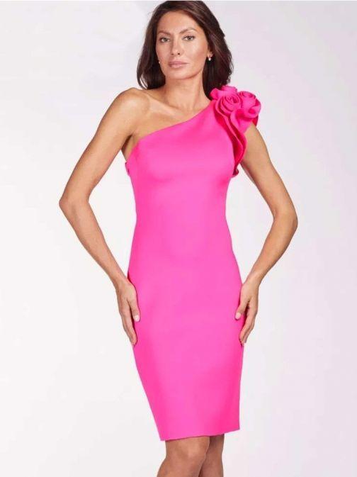 Frank Lyman Pink One Shoulder Flower Detail Dress