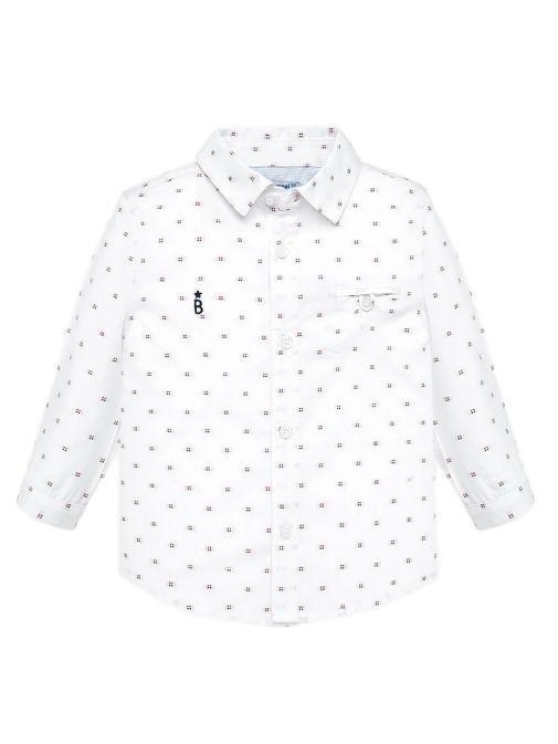 Mayoral White Square Print Long Sleeved Shirt 2114 46