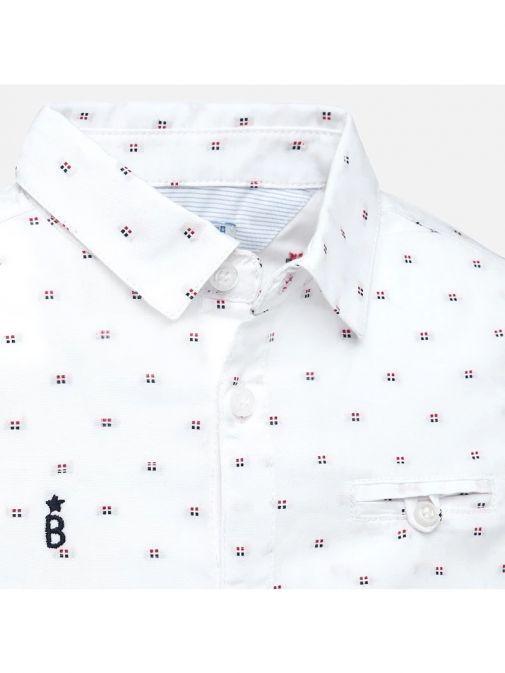 Mayoral White Square Print Long Sleeved Shirt