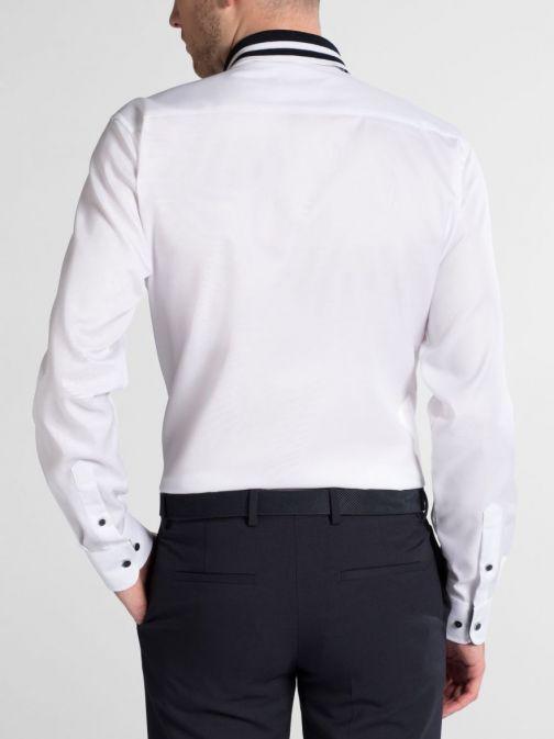Eterna White Slim Fit Non-Iron Polo Collar Shirt 2140/00 f02p