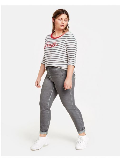 Samoon Grey Cold Dyed Skinny Trousers 220021-21116 2030
