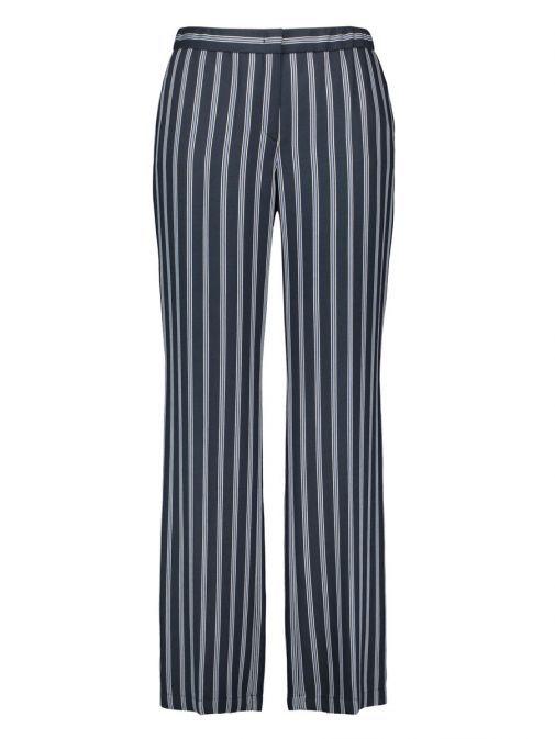 Samoon Carlotta Navy Pinstripe Wide Leg Trousers 220025 27063 / 8102