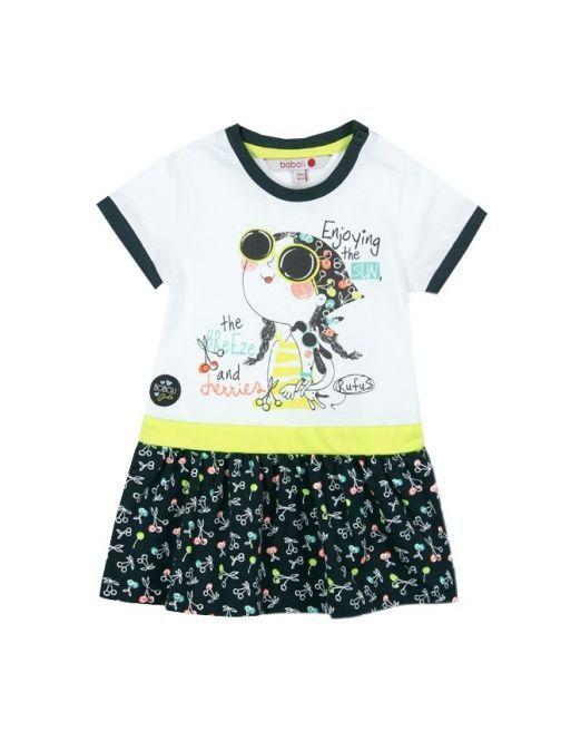 Boboli White & Black Print Dress