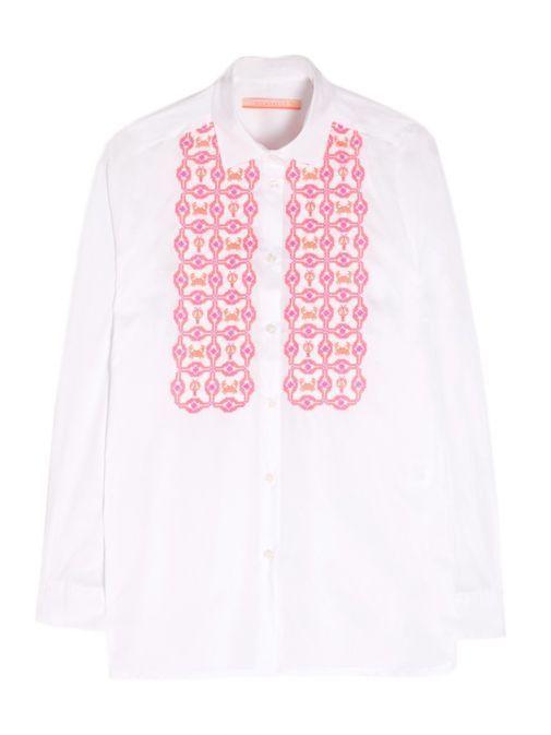 Vilagallo White Embroidered Long Sleeve Shirt 25029/WHITECONFORT
