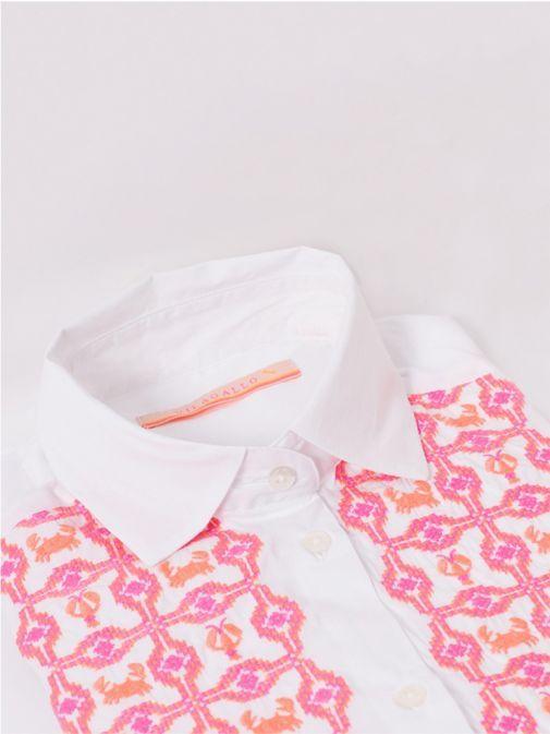 Vilagallo White Embroidered Long Sleeve Shirt