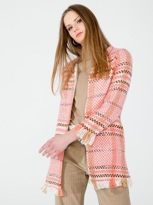 Vilagallo Coral Knitted Check Jacket