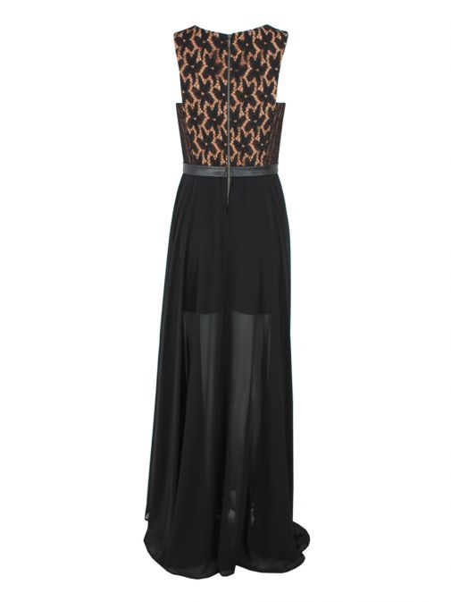 SPELL Black Lace and Pleather Playsuit