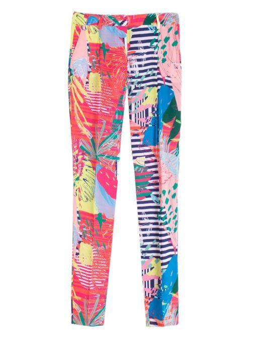 Vilagallo Multi Saona Print Straight Leg Trousers 26348 SAONAPRINT