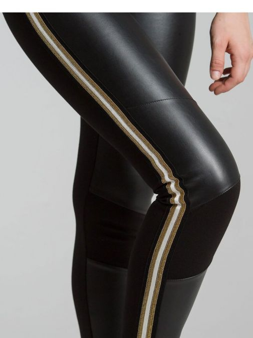 SPELL Black Trouser with Leatherette Panels and Embroidered Detail