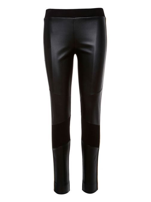 SPELL Black Trouser with Leatherette Panels and Embroidered Detail 27-5015-134 black