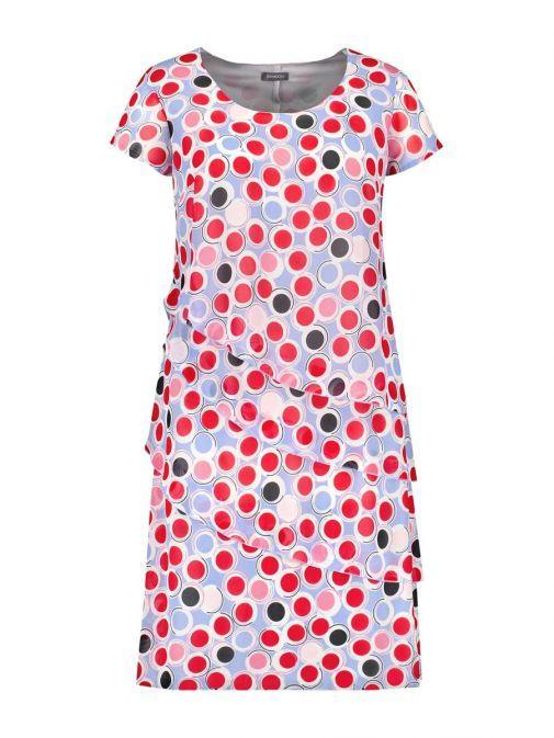 Samoon Blue Multi Polka Dot Print Summer Dress 280010-21126 8002