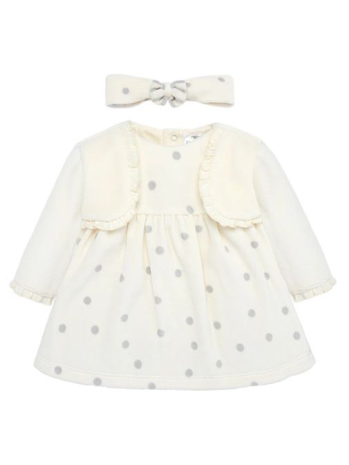 Mayoral Cream Velour Polka Dot Dress Set 2801 20