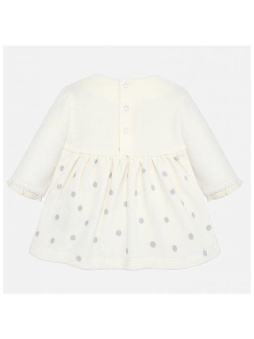 Mayoral Cream Velour Polka Dot Dress Set