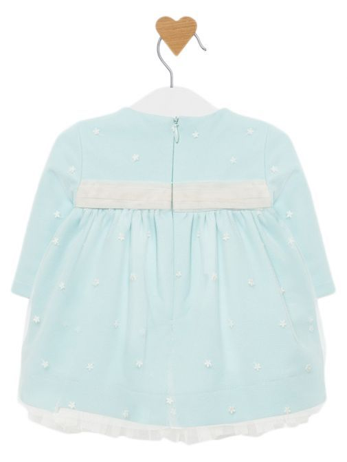 Mayoral Water Embroidered Tulle Sash Dress