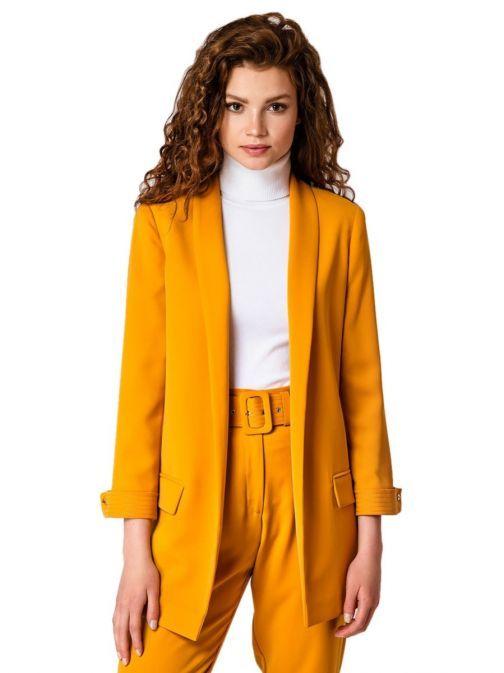 Access Fashion Mustard Longline Blazer 29-1048-137 YELLOW