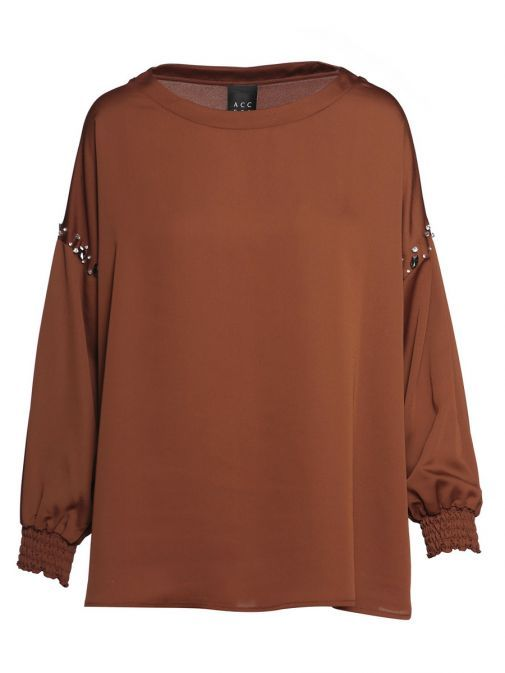 Access Fashion Brown Cuffed Long Sleeve Blouse 29-2219-560 BROWN